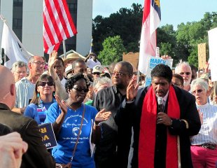 william barber awith crowd t moral mondays rally
