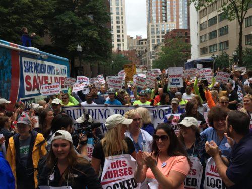 Nurses protesting