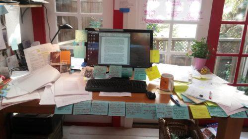 Jane McAlevey's cluttererd desk