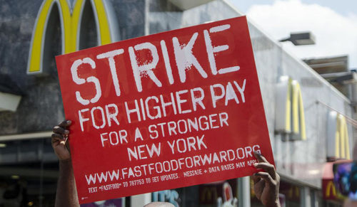 Fast Food workers strike sign
