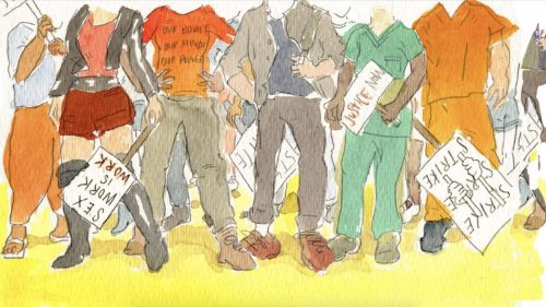 illustration of striking workers