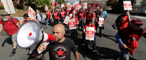 strikers marching