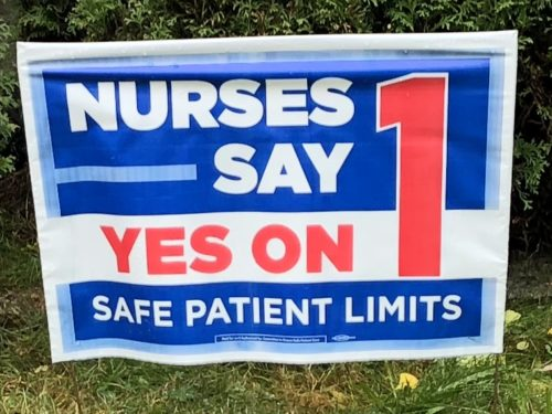Yes on 1 Nurses sign