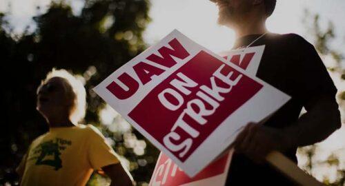 UAW workers on strike
