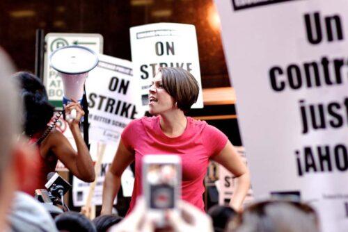 speaker at teacher's strike rally