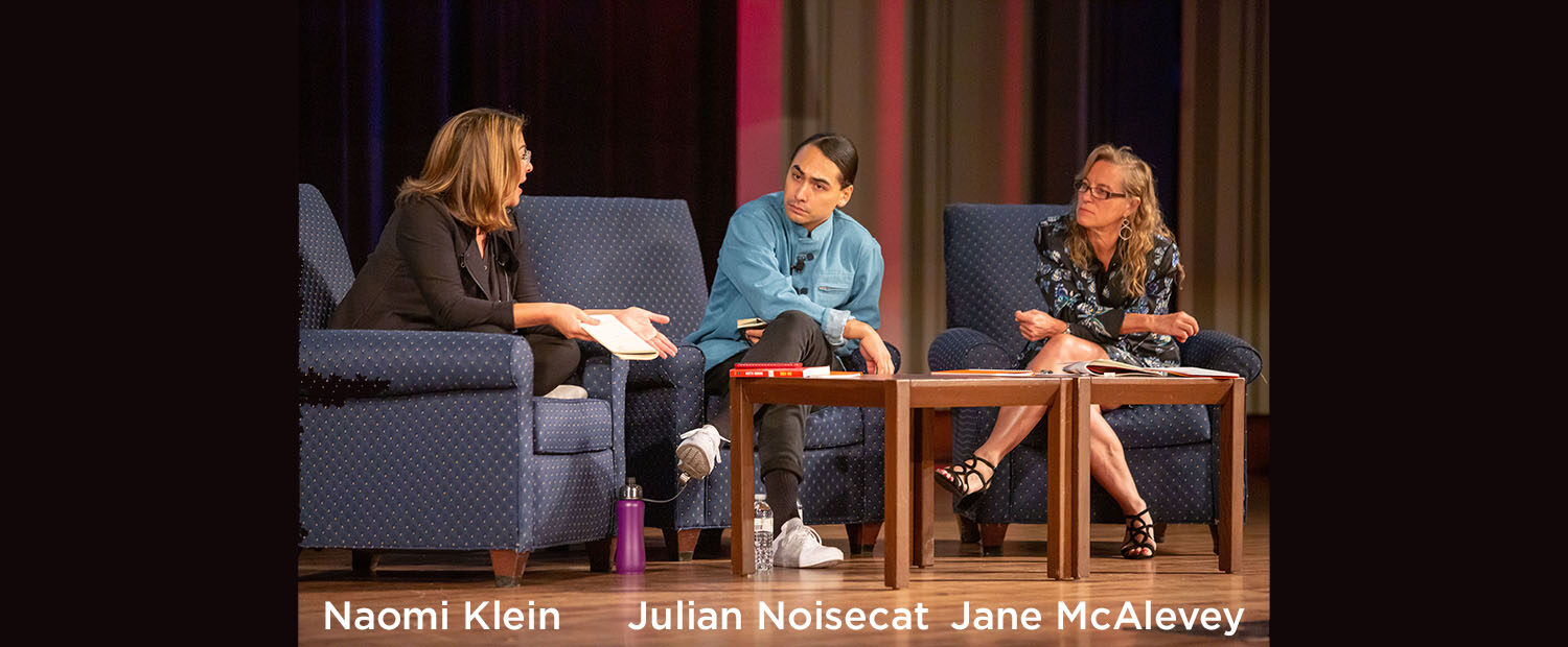 Naomi Klein, Julian Noisecat, and Jane McAlevey - speaking at the Green New Deal Conference