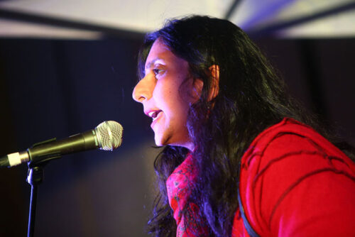Seattle City Councilmember Kshama Sawant speaks at rally at Westlake Center