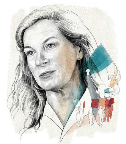 Illustration of Jane McAlevey