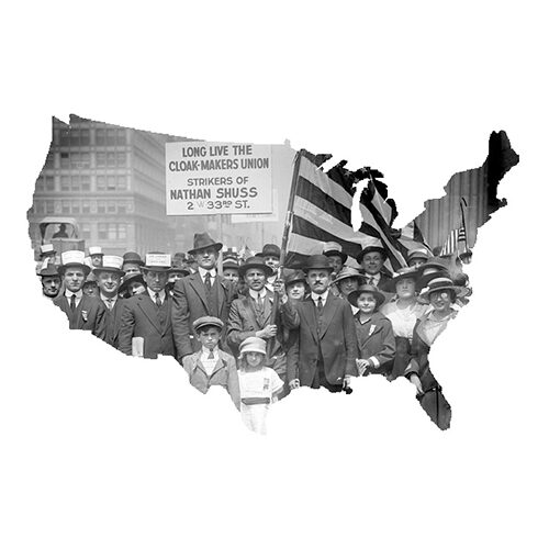 outline of USA with strikers demonstrating