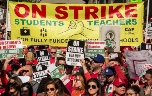 LA teachers and parents celebrate their victory in 2019,
