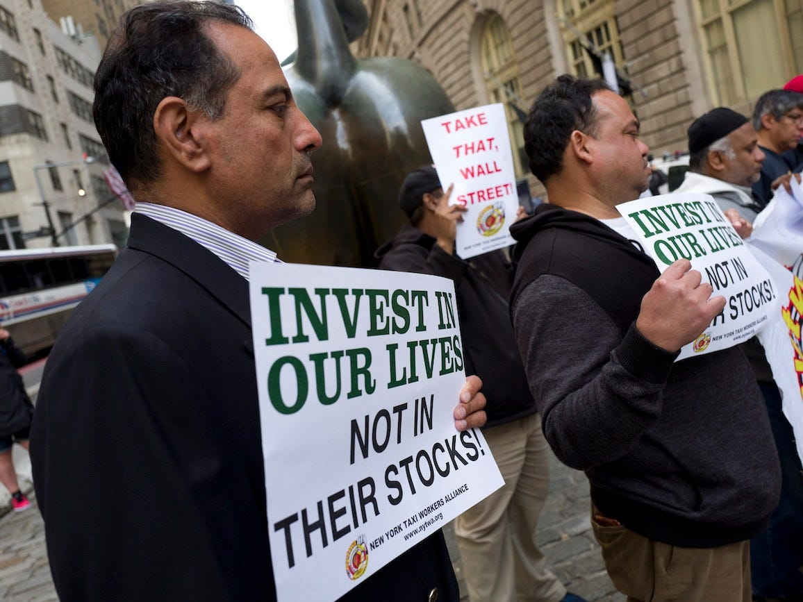 Uber drivers protest on Wall Street