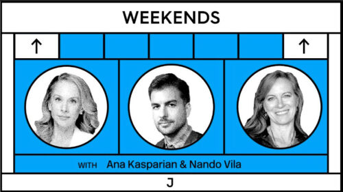 "banner for ""Weekends"" with Ana Kasparian and Nando Vila and guest Jane McAlevey"